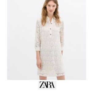 Zara | Lace shift dress with jewel buttons NWT